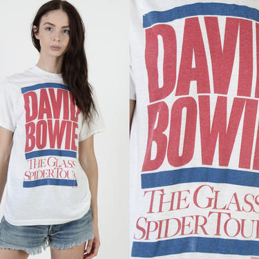 Vintage 1987 David Bowie T Shirt / Glass Spider Concert Tour Tee / 80s Ziggy Stardust Glam Rock / White Mens Girls 50 50 Shirt by americanarchive
