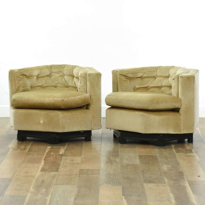 Pair Champagne Art Deco Hexagon Armchairs