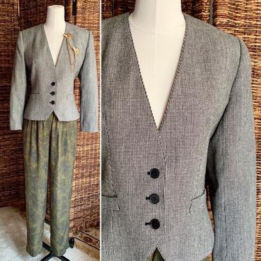 Vintage Evan Picone Tweed Blazer Jacket, Wool, Heather Checks, Lord & Taylor, 80s 90s by GabAboutVintage