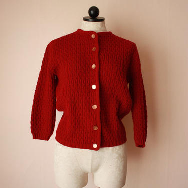 60s Maroon Cardigan Sweater Crocheted Knit Merlot Dark Red Size S / M by NoSurrenderVintage