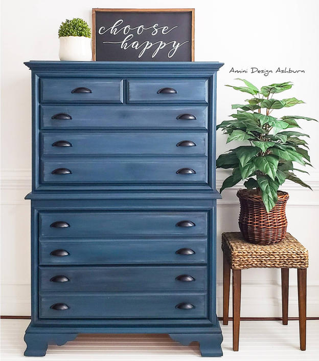 SOLD - Blue Chest on Chest Dresser by AminiDesignAshburn