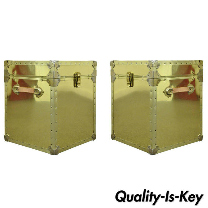 Pair of Hollywood Regency Brass Clad Trunks Chest Side Tables by Luggage Gallery