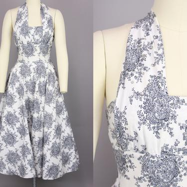 1950s Cotton Halter Dress   Vintage 50s White, Black, & Grey Print Dress with Full Skirt   small / medium by RelicVintageSF