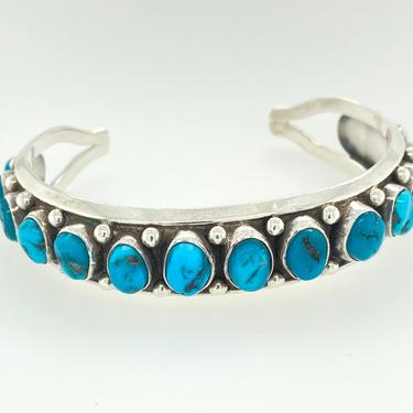 Vintage Navajo 15 Stone Turquoise Sterling Silver Cuff Bracelet Artisan Signed RA by HouseofVintageOnline