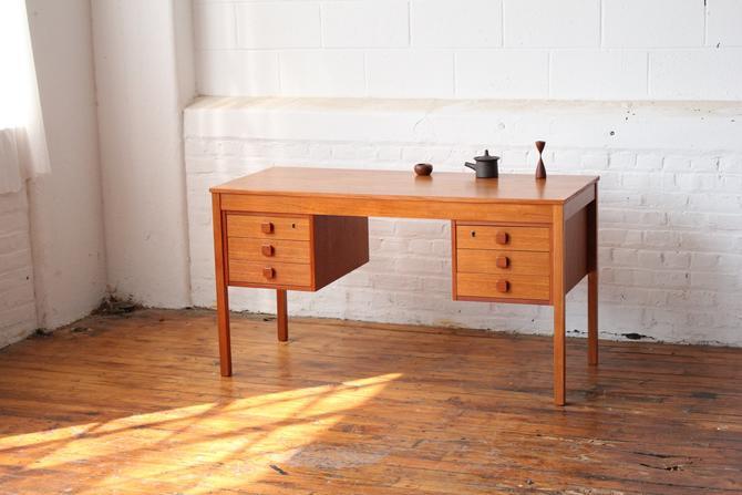Restored Danish Teak Double Pedestal Desk by NijiFurnishing