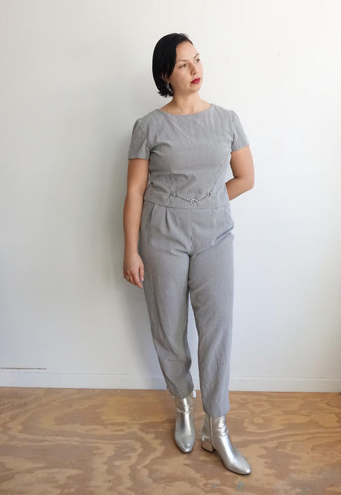 Vintage 90s Gingham Jumpsuit with Chain Belt/ 1990s Minimalist/ Size XL by bottleofbread
