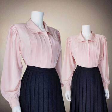 Vintage Pleated Blouse, Medium / Silky Pink Button Blouse / 1940s Style Cocktail Blouse / Classic Long Sleeve Button Up Dress Blouse by SoughtClothier