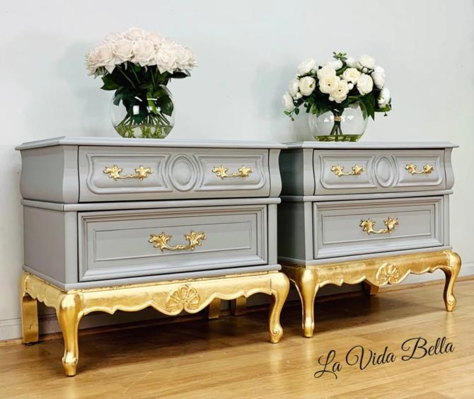 Stunning Pair of French Provincial Side Tables, End Tables, Nightstands, French, Gray, Gold Leaf, Vintage, Antique. by LaVidaBellaDesign