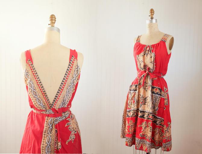 90s batik open back dress || convertible batik print cotton dress || small medium by foganddriftwood