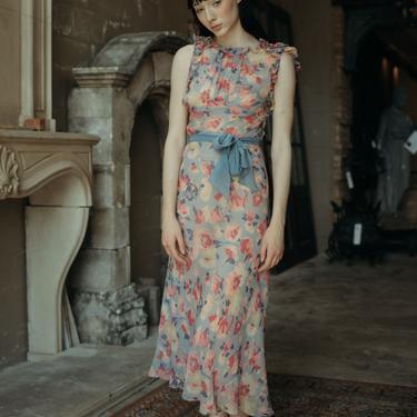 1930s ruffled floral silk chiffon evening dress OOAK art deco by DevoreVintage