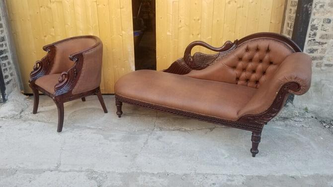 Vintage Carved Swan Barrel Back Chair and Tufted Chaise Lounge