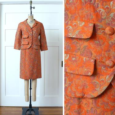 vintage 1960s women brocade suit • orange purple & gold two piece jacket and pencil skirt set by LivingThreadsVintage