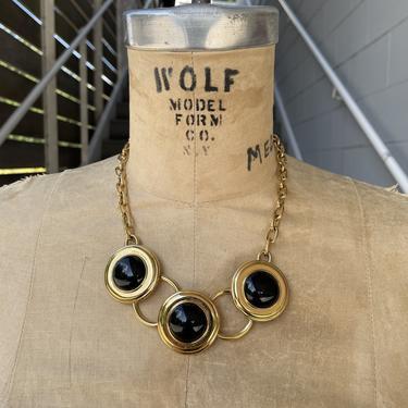 1980s Gold and Black Monet Necklace NEEDS MEASUREMENTS
