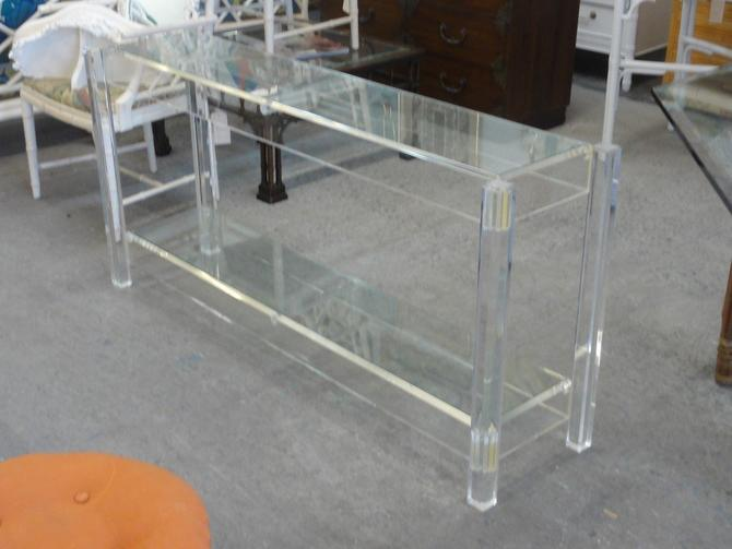 Mid Century Modern Lucite & Glass Console