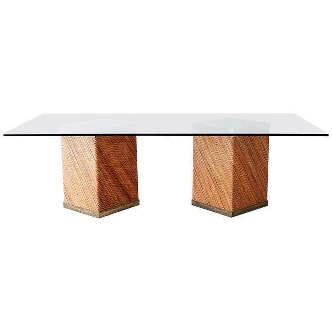 Gabriella Crespi Style Rattan Brass Pedestal Dining Table by ErinLaneEstate