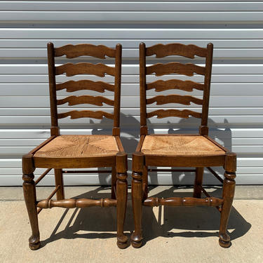 2 Antique Ladderback Rush Seat Dining Chairs Vintage Chair Kitchen Seating Wood Country French Farmhouse Woven Traditional Cottage Rustic by DejaVuDecors