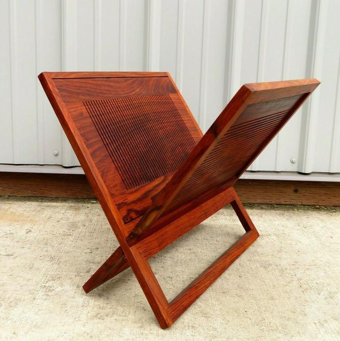 SEXY Mid Century ROSEWOOD MAGAZINE HOLDER RACK Sofa Chair Teak DANISH MODERN Vtg