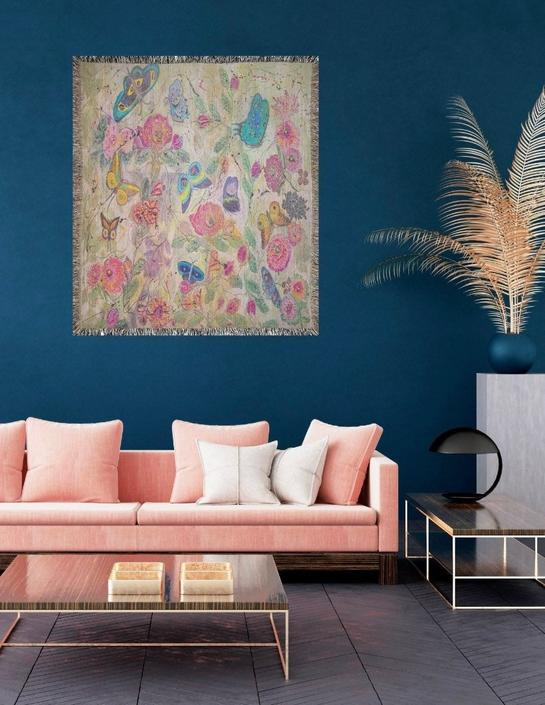 Butterflies Nature Floral Woven Blanket Tapestry ~ Floral Butterflies Throw Blanket Wall Tapestry ~ Butterflies Wall Art ~ Boho Chic Art by DareToBeVintage