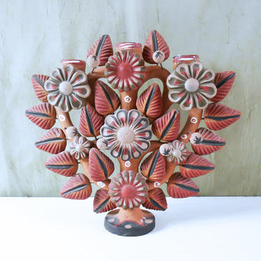 Tree of Life Candelabra - Folk Art Candle Holder from Mexico by MostlyMidModern