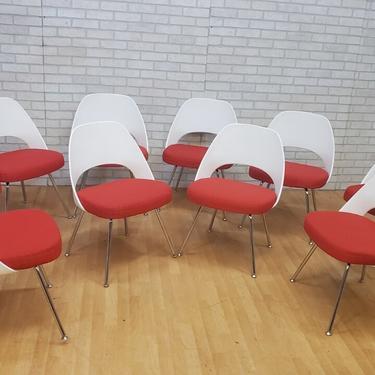 Mid Century Modern Knoll Saarinen Executive Armless Chair with Tubular Legs - Set of 10