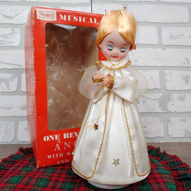 Vintage Mid Century Sears Musical Revolving Angel with Box by RedsRustyRelics