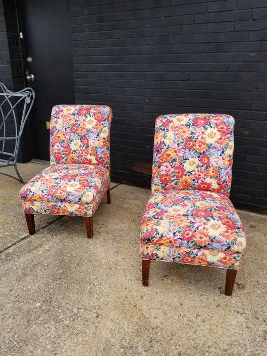 Pair of floral Slipper chairs