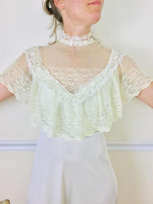 Vintage 70s Victorian Style Wedding Dress Ivory Lace Mock Neck Capelet 1970s Prom Dress Size Small Medium by AuntyEntitysVintage