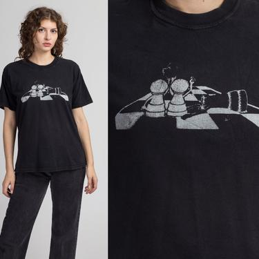 90s Chess Game T Shirt - Large | Vintage Black Funny Cartoon Graphic Tee by FlyingAppleVintage