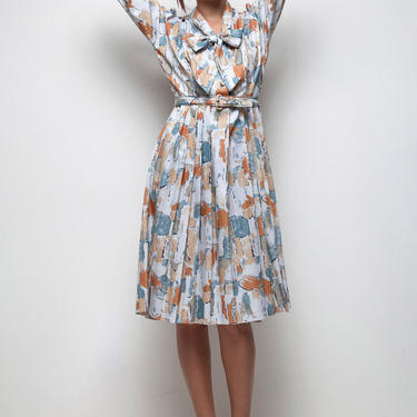 70s does 50s shirtwaist bow dress vintage pleated abstract scribble print blue orange LARGE L by shoprabbithole