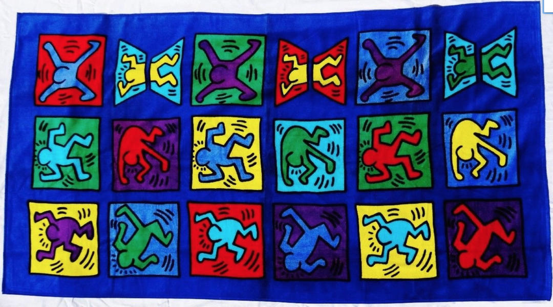 Rare Keith Haring Oversized Beach Towel Collectible 1996