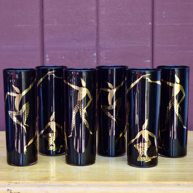 Set Of 6 Mid Century Black And Gold Harlequin Dancers Highball Glasses By Federal Glass by Cavemanteeks