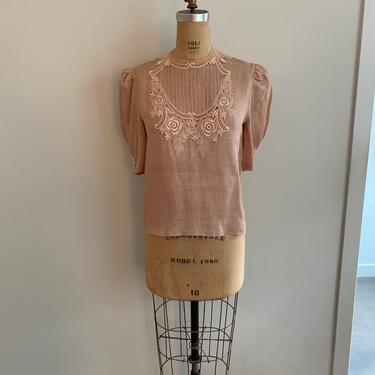 Cache linen prairie blouse with appliqué details-Size M by MartinMercantile