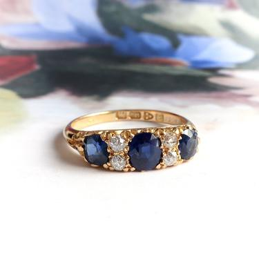 Antique Art Nouveau 2.03ct t.w. Natural Sapphire and Old European Cut Diamond Ring Band 18k by YourJewelryFinder