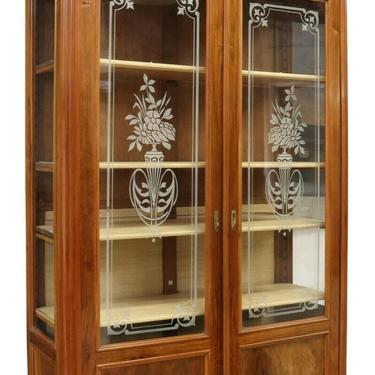 Antique Bookcase, Italian Walnut Etched Glass, Display, Bookcase, Early 1900s!!