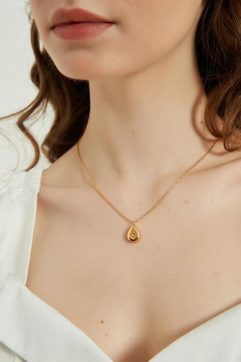 Ceilia Gold North Star tear drop Pendant Necklace, gold North Star Necklace, gift for her, gold northern star pendant necklace, gold star by MelangeBlancDesigns