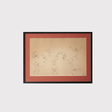Alexander Calder Signed Limited Edition Circus Drawings Lithograph in black matted frame_004 by GoldmineUnlimited