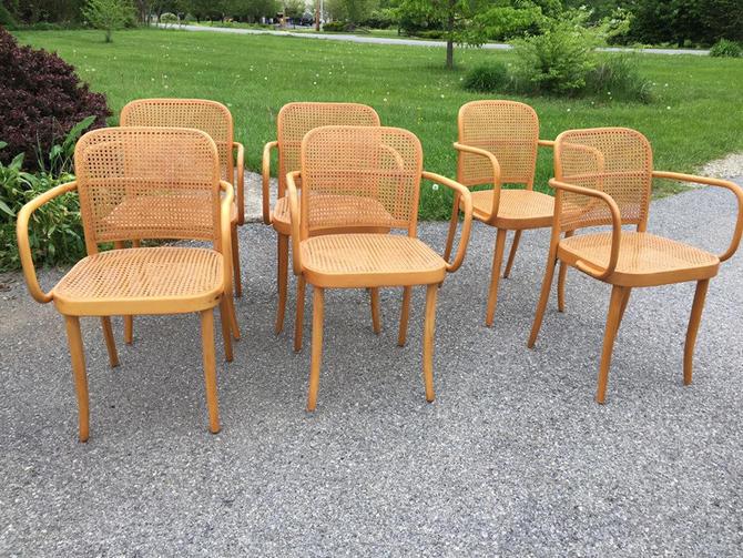 Set 6 mid century era Czechoslovakian Josef Hoffman for Thonet Prague #A811 Bentwood Caned Armchairs Stendig by MadModWorldVintage