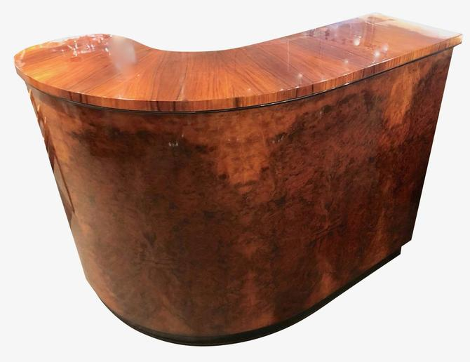 Item #2696Burl Walnut Art Deco Round Stand Behind Bar. Incredible bookmatched veneer wood with precision grain match to help create a one of kind custom…