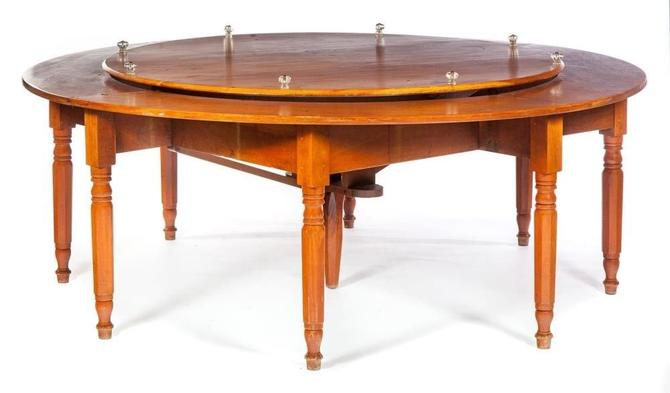 Antique American Empire Lazy Susan Round Dining Table