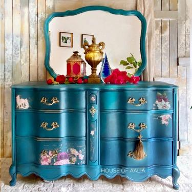 SOLD!  Can replicate! French Provincial Boho Dresser   Boho Upscale Dresser   Colorful Chest   Anthropologie Style Dresser by HouseofAalia