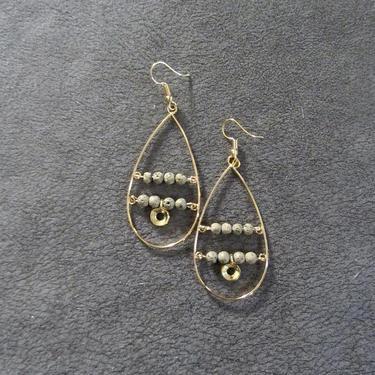 Large teardrop earrings, mid century modern earrings, unique earrings, bold gold hoop, brutalist statement earrings, brass Art Deco by Afrocasian