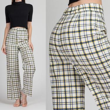 "70s White Stag Plaid High Waist Pants - Medium, 26""-28"" | Vintage Women's Straight Leg Retro Elastic Waist Trousers by FlyingAppleVintage"