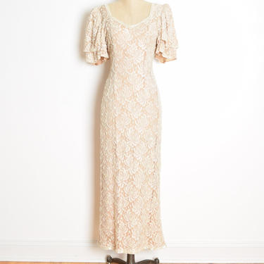 vintage 80s-does-30s dress cream nude lace beaded long maxi gown Judith Ann M by huncamuncavintage