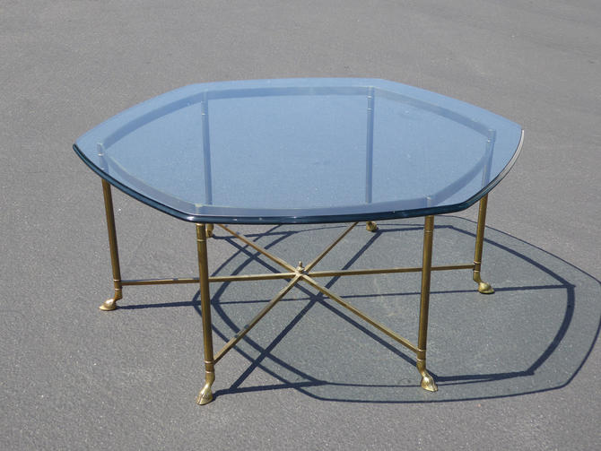 Vintage French Italian Hexagon Brass & Beveled Glass Coffee Table w Hoof Feet by VintageLAfurniture