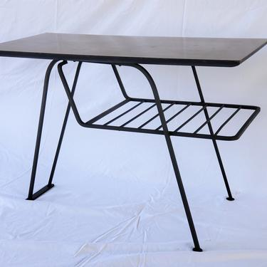 Mid Century Modern McCobb Style Wrought Iron End Table with Magazine Rack by WrightFindsinMCM