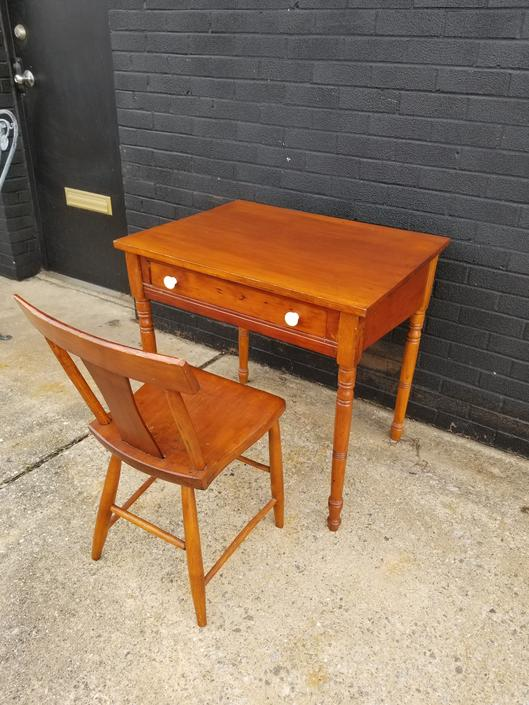 Antique farm style writing desk with Chair