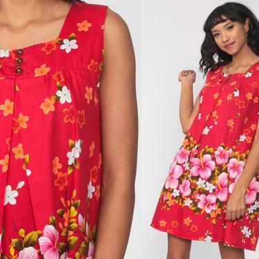 Hawaiian Dress 70s Ui-Makai Dress Red Tent Dress Tropical Dress Mod Mini Shift Floral Boho Twiggy Vintage Minidress Sleeveless Small Medium by ShopExile