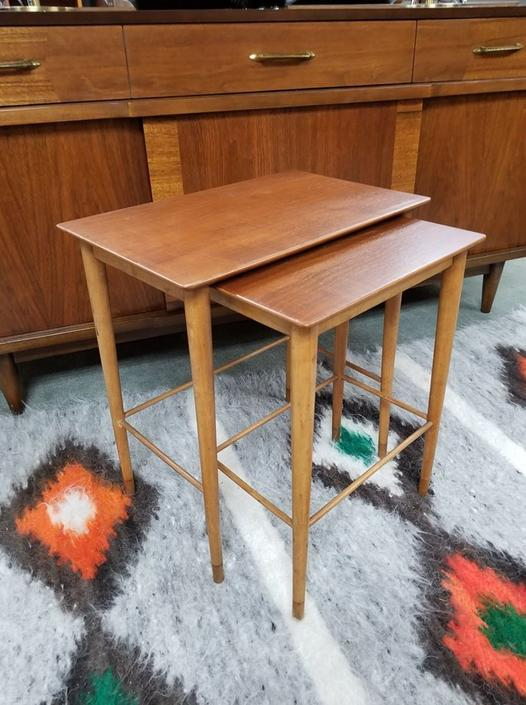 Pair of Danish Modern teak nesting tables