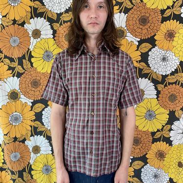 Burgundy Plaid Short Sleeve Button Up Shirt