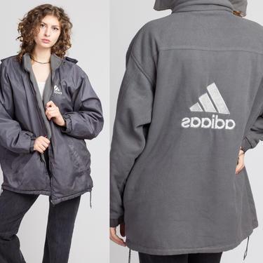 Vintage Adidas Reversible Jacket - Men's Medium | 90s Gray Unisex Hooded Streetwear Logo Coat by FlyingAppleVintage